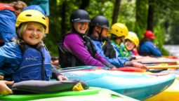 Youth kayaking during Summer Day Camps course