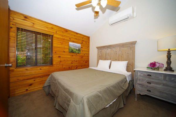 bedroom in birch cabin
