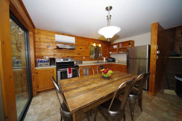 kitchen in birch cabin