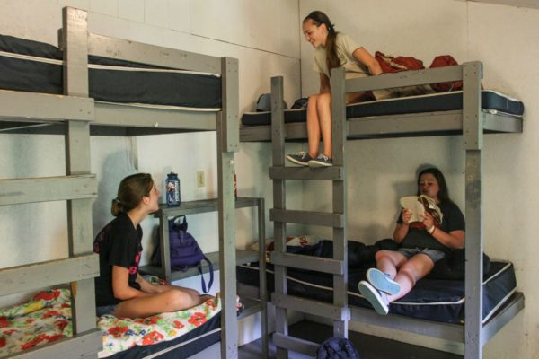 bunkhouses bunkbeds with girls chatting
