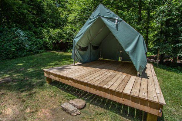 Tent set up on platforms