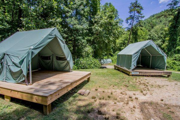 Tents set up on platforms