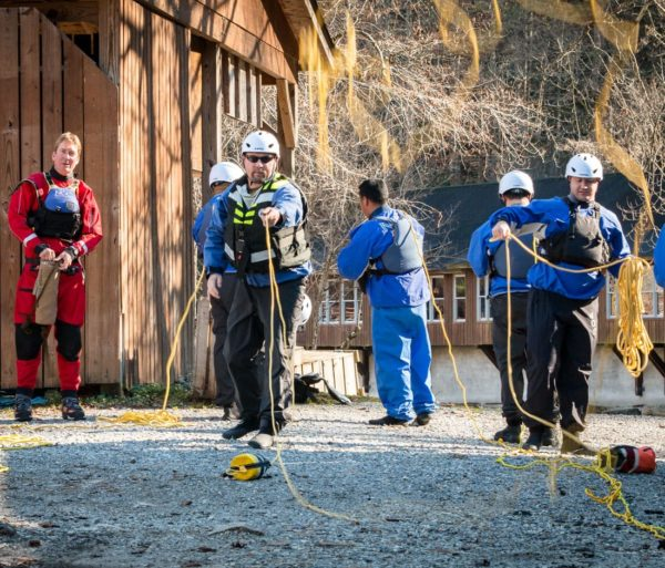 Practicing using the throwrope during the ACA Kayak Instructor Training Levels 3 & 4 course