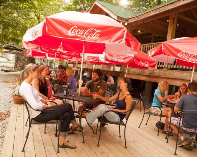 guests dining at Big Wesser Riverside Pub