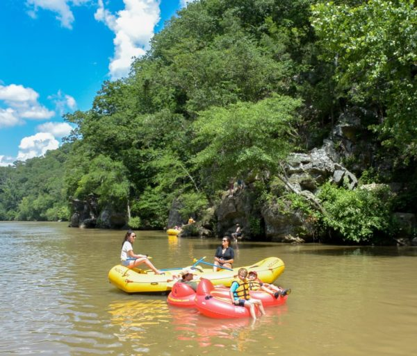 Yellow and red rafts on a Chattahoochee River Raft Rentals - Roswell trip