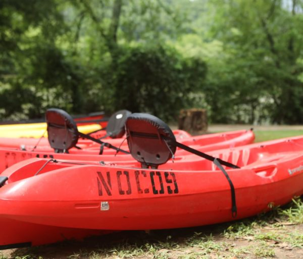 empty kayaks on the Chattahoochee River Kayak Rentals - Roswell trip
