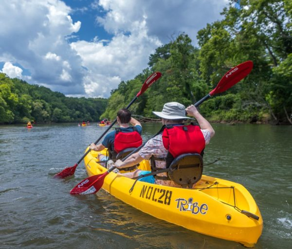 Adults tandem kayaking on the Chattahoochee River Kayak Rentals - Roswell trip