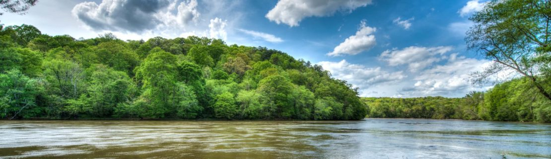 Chattahoochee river on a blue sky day