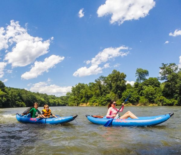 Guests riding in inflatable duckies on the Chattahoochee River Inflatable Kayak/Ducky Rentals - Metro trip