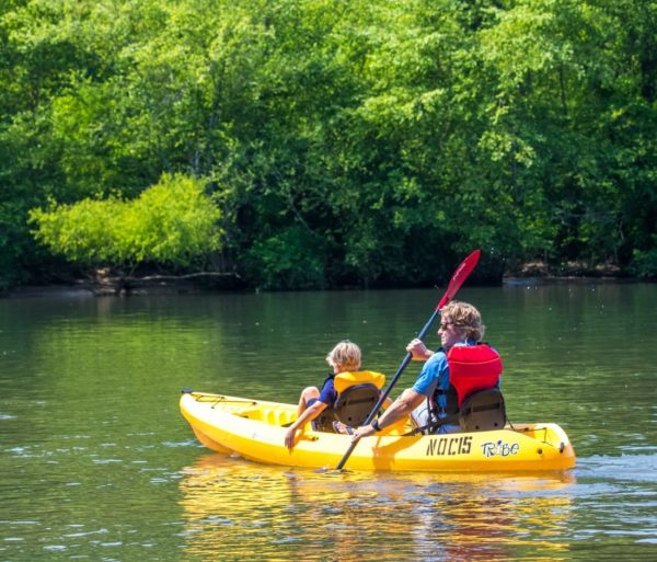 Parent and child on sit on top kayaks on the chattahoochee river