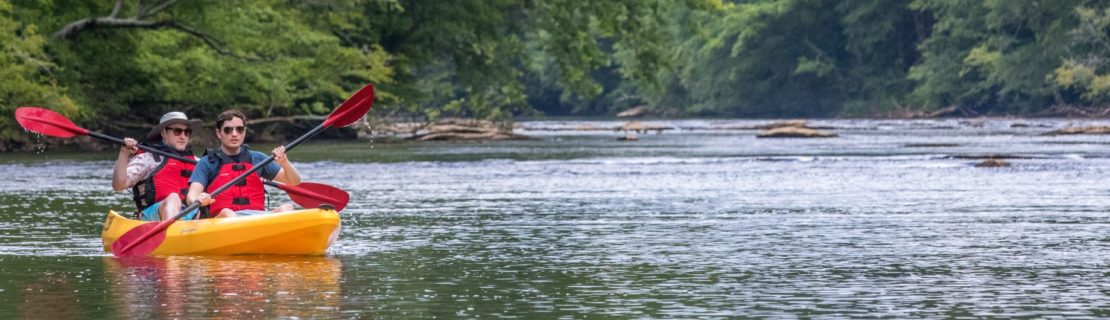 Guests on sit on top kayaks on the chattahoochee river