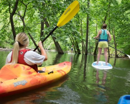 Women kayaking and SUPing on the Fontana Lake Kayak & SUP Rentals trip