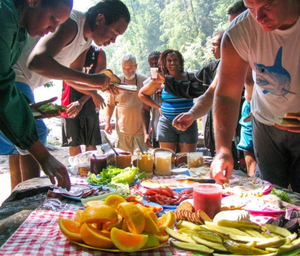 Rafters eating lunch on the French Broad River Rafting: Full-Day (with Lunch) trip