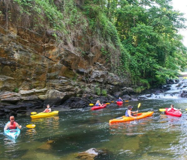Kayakers on the Guided Fontana Lake Tour trip