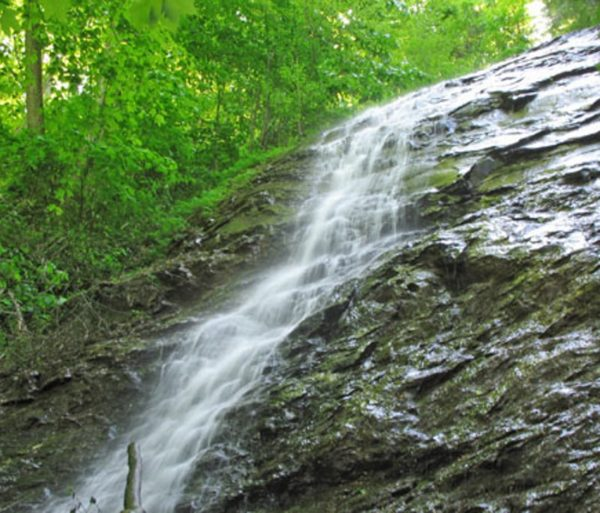 waterfall on a guided hike trip