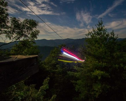 Zip line lights on the Moonlight Mountaintop Zip Line Tour trip