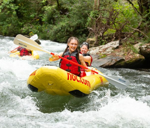Guests in duckys on the Nantahala River Raft & Duck Rentals in North Carolina trip