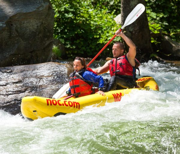 Two guests on a ducky on the Nantahala River Rafting: Guided Duck Trip