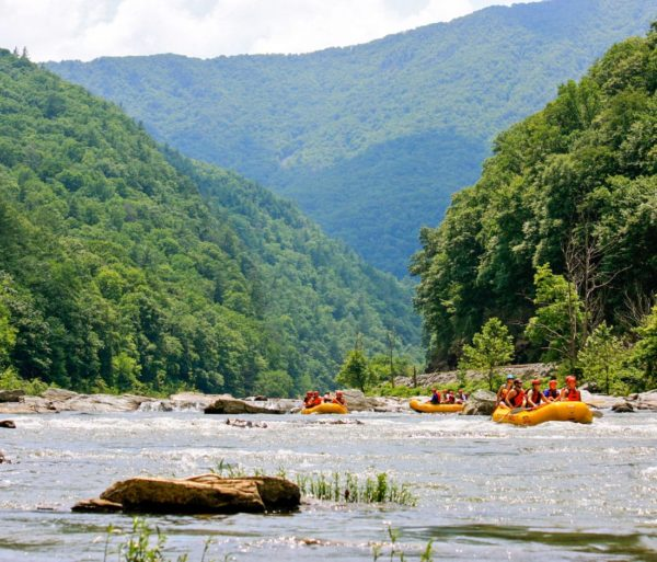 Rafting through a gorge on the Nolichucky Gorge Rafting: Full-Day (with Lunch) trip