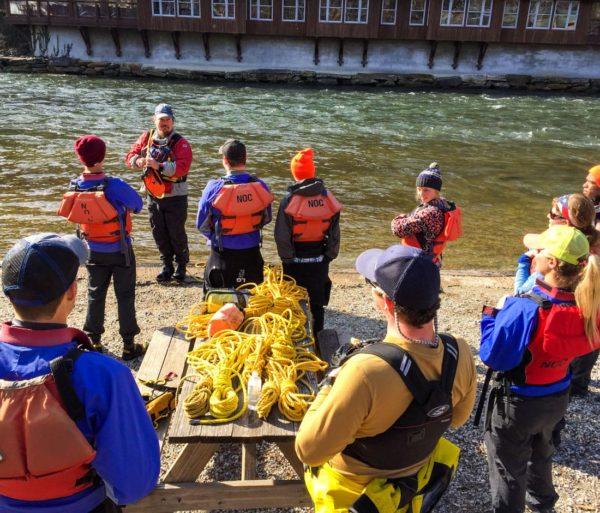 Instructor and students in Raft Guide School