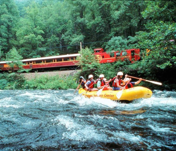 Guests rafting on the Rapid Transit: Rafting & Train Excursion Package trip