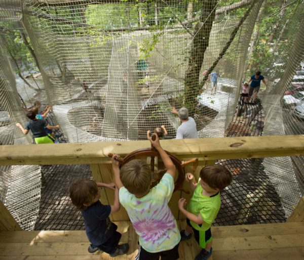 Kids playing on the Treetop Adventure Nets