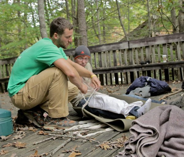 Bundling supplies during the Wilderness First Aid (WFA) Certification Course