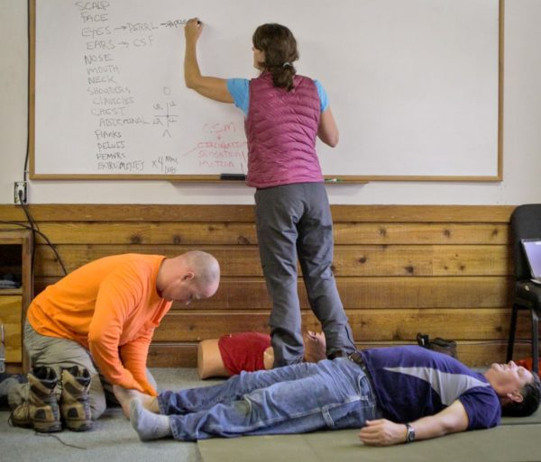 Instructor drawing on the whiteboard during the Wilderness First Aid (WFA) Certification Course - Chattanooga