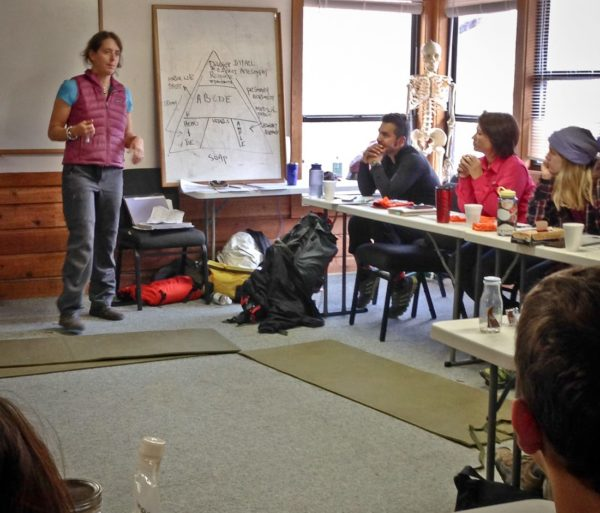 Woman teaching the Wilderness First Aid (WFA) Certification Course