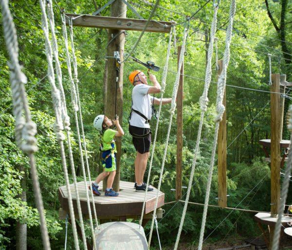 Family on the Zip Line Adventure Park