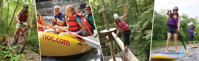 Four images of guests biking, rafting, on an adventure course, and stand up paddle boarding