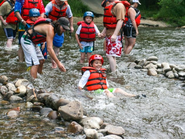 Rafters swimming on the Pigeon River Rafting: Lower Pigeon Gorge trip