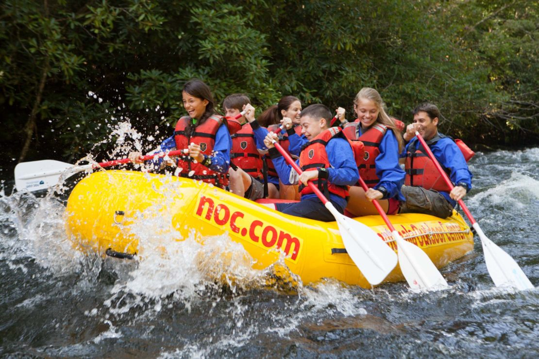 Guests whitewater rafting in North Carolina