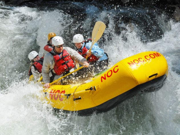 Thrill seekers on a rafting trip