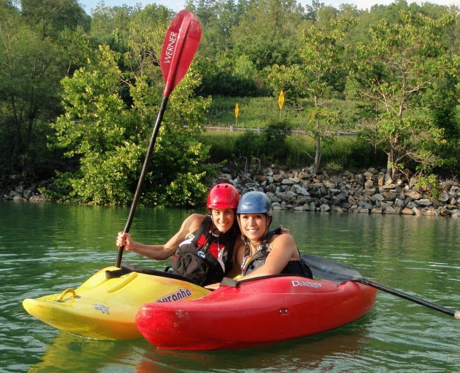 women paddling on kayak