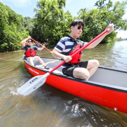 Boys canoeing on the Chattahoochee River