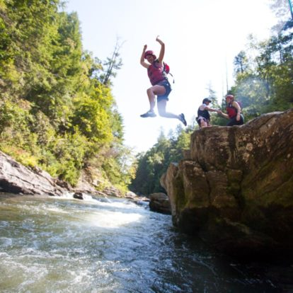 Jumping into the Chattooga River