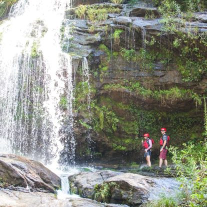 exploring a waterfall on the Chattooga River