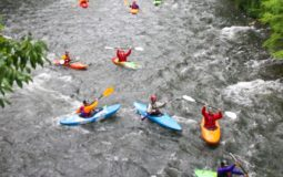 Numerous kayakers boating down a river