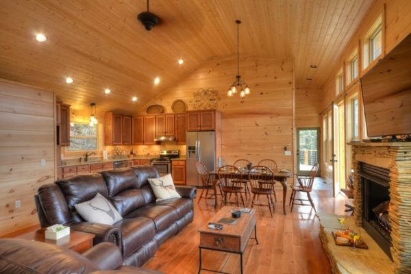 Living room of the Watershed Cabin