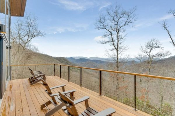 Deck overlooking mountains at the Watershed Cabin