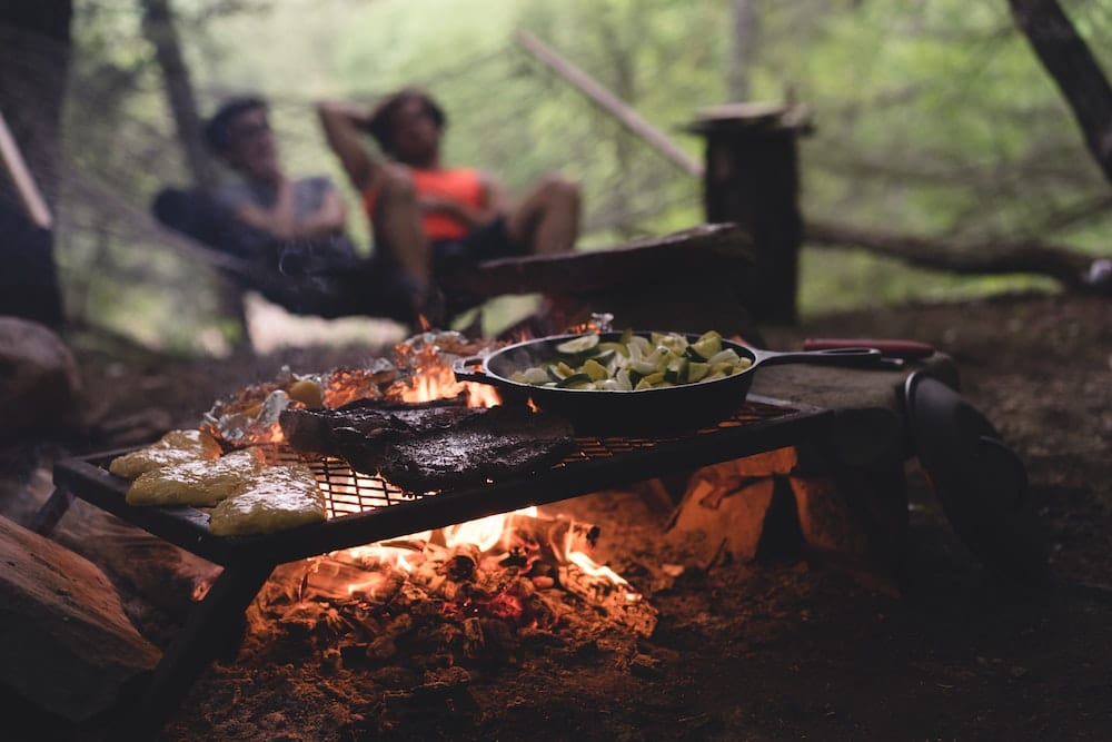 Family Dinner by Fire
