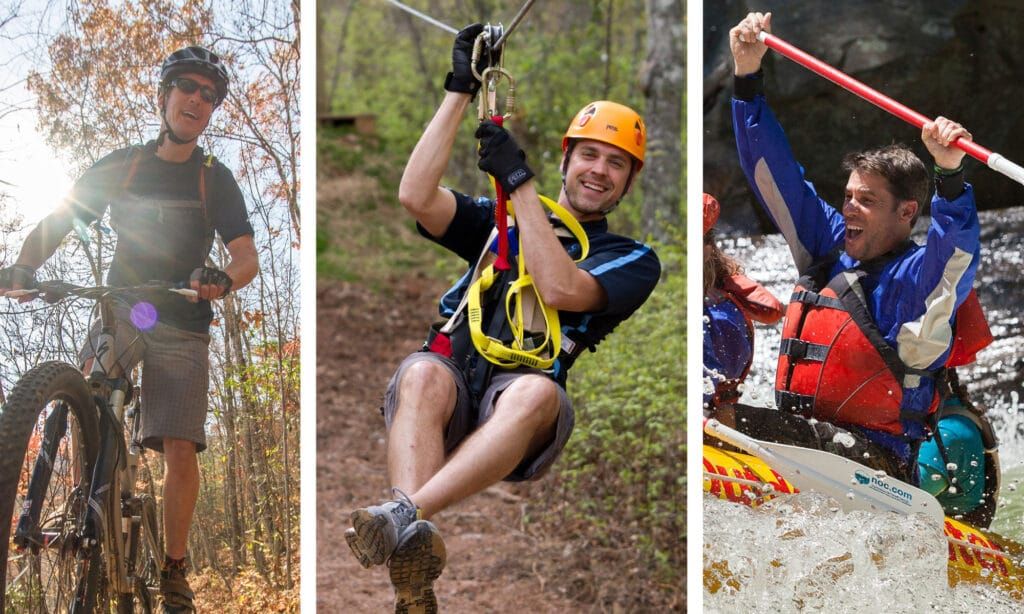 Mountain Bike, Zip Line, and Whitewater Raft with NOC