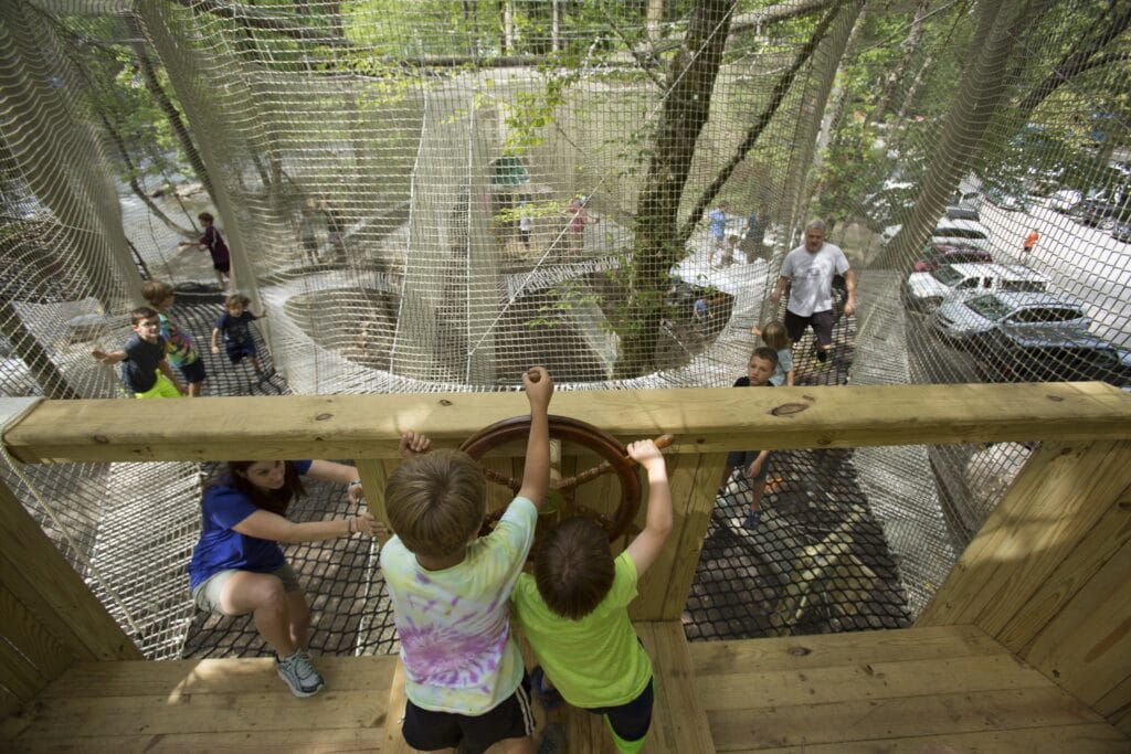 Kids playing in Treetop Nets