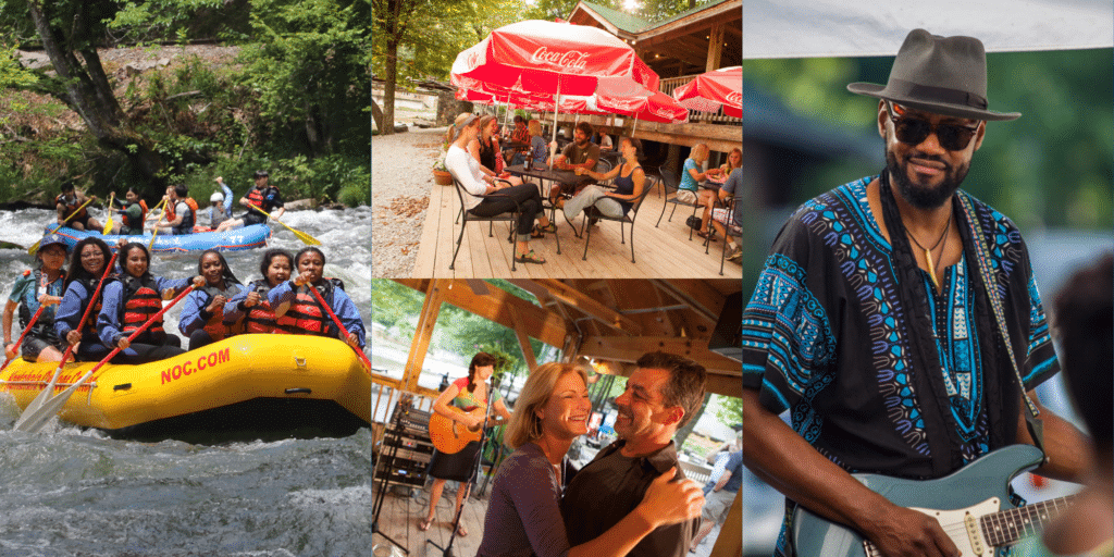 People rafting, dancing, eating, and playing music at NOC