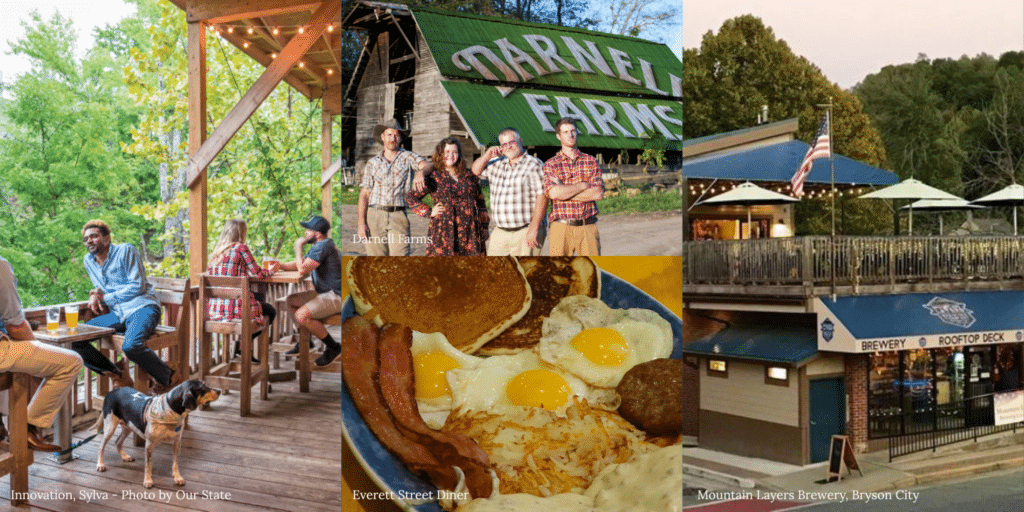 Innovation Brewing deck, the Darnell Family standing at their farm, breakfast of eggs, hashbrowns, bacon and more from Everett Street Diner, and a profile of Mountain Layers Brewing