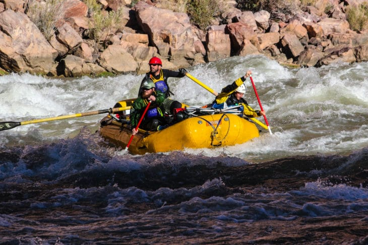 NOC Guides tackle the Colorado River's massive rapids.